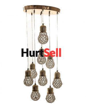 Nowoczesny kompletny żyrandol LED lampa wisząca 9 kryształowych żarówek z regulacją długości zwisu barwa neutralna dzienna