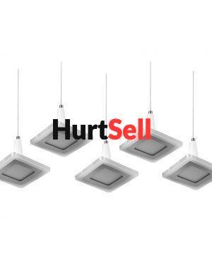 Żyrandol ozdobny LED lampa wisząca prostokątna z kloszami kwadrtarowymi i halogenami LEDowymi zintegrowane źródło światła LED