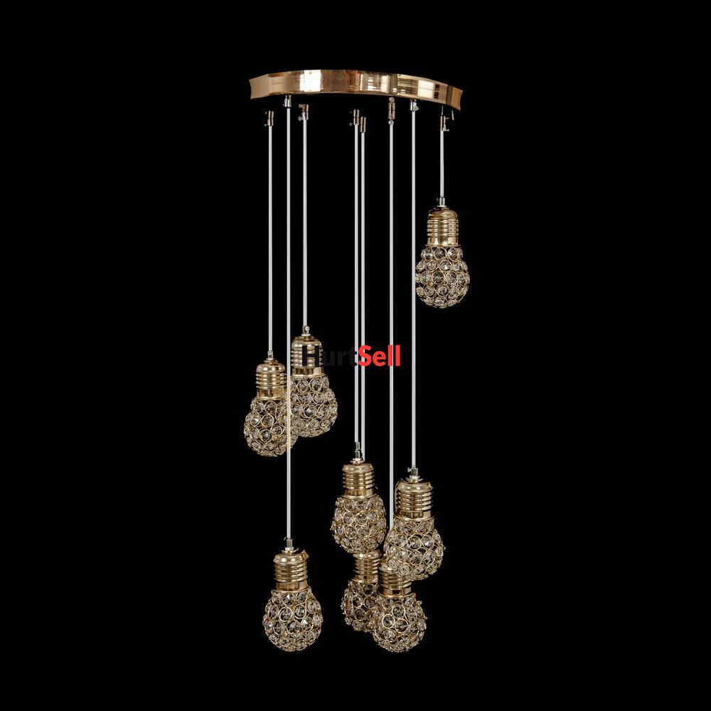 żyrandol Led Lampa Sufitowa Wisząca żarówki Z Kryształem
